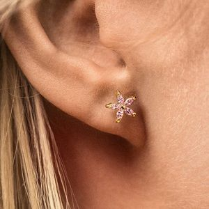 New Pink/Gold CZ Stud Earrings Flower Earrings